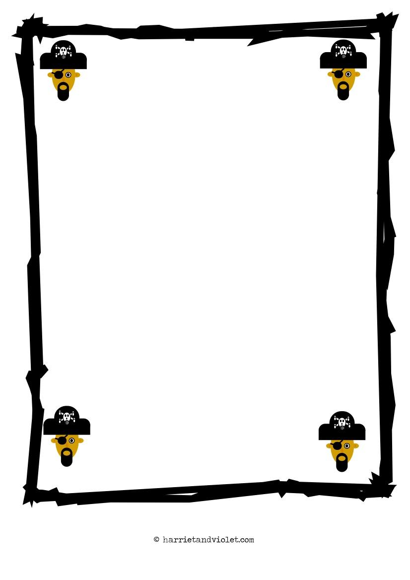 pirate border paper a4 plain