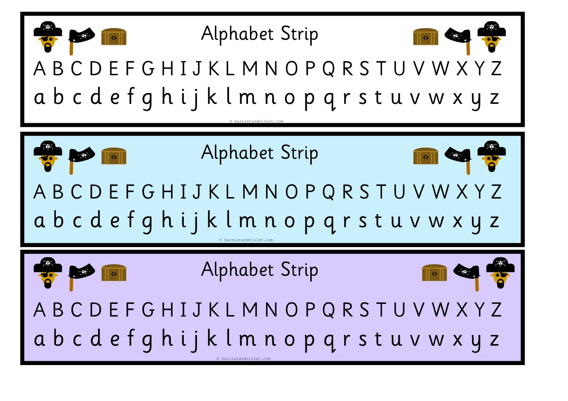 Pirate Alphabet Strip/Chart Upper and Lower Case - Free Teaching ...