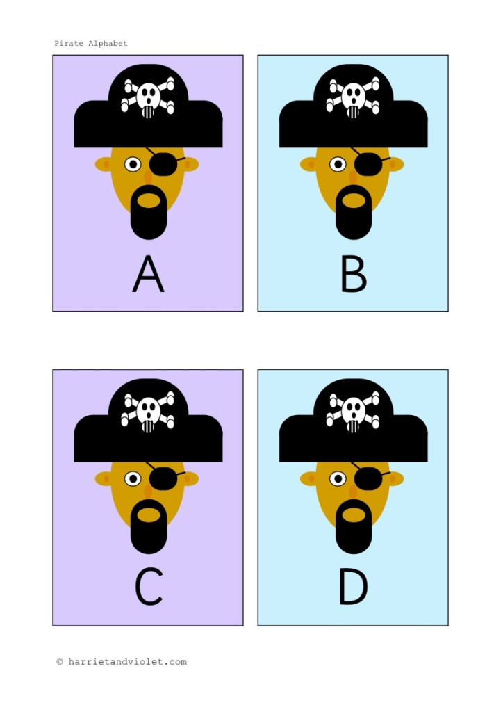 Pirate Alphabet Capital Letters Flashcards - Free Teaching
