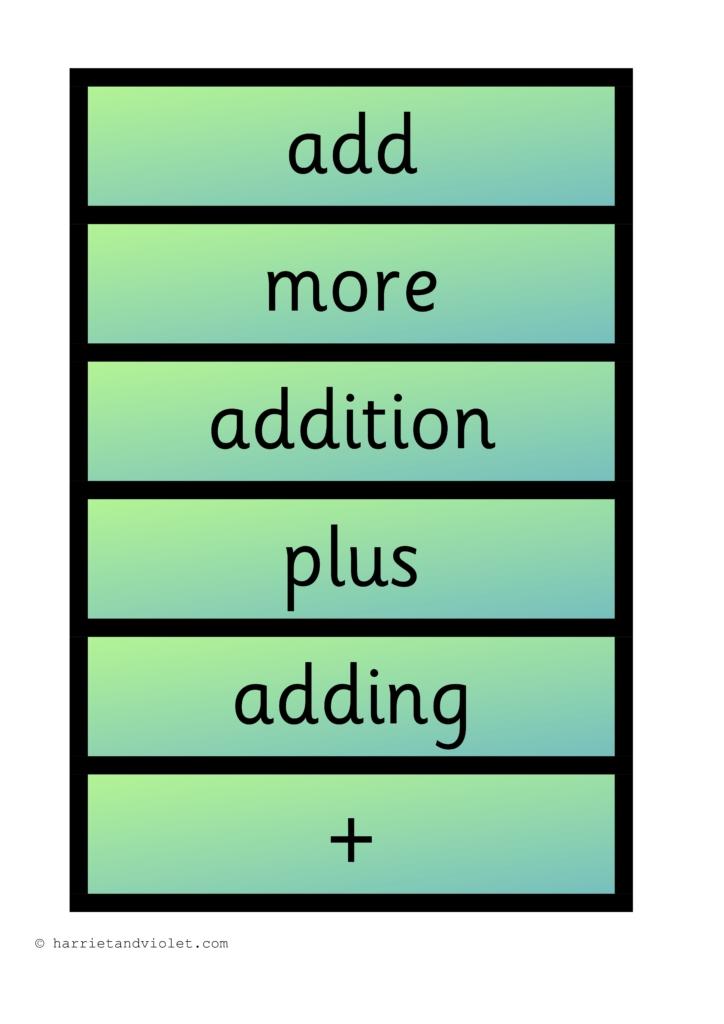 addition maths vocabulary