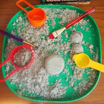 moon dough scoops EYFS