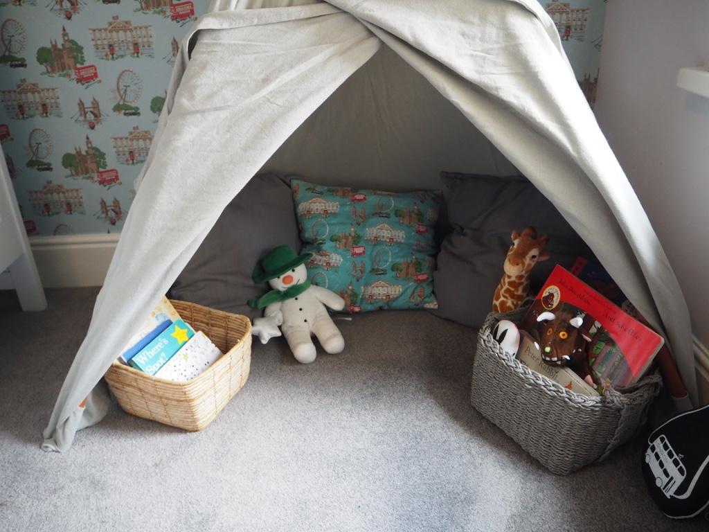 modern nursery book corner