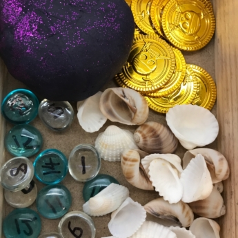 black playdough shells coins pirate