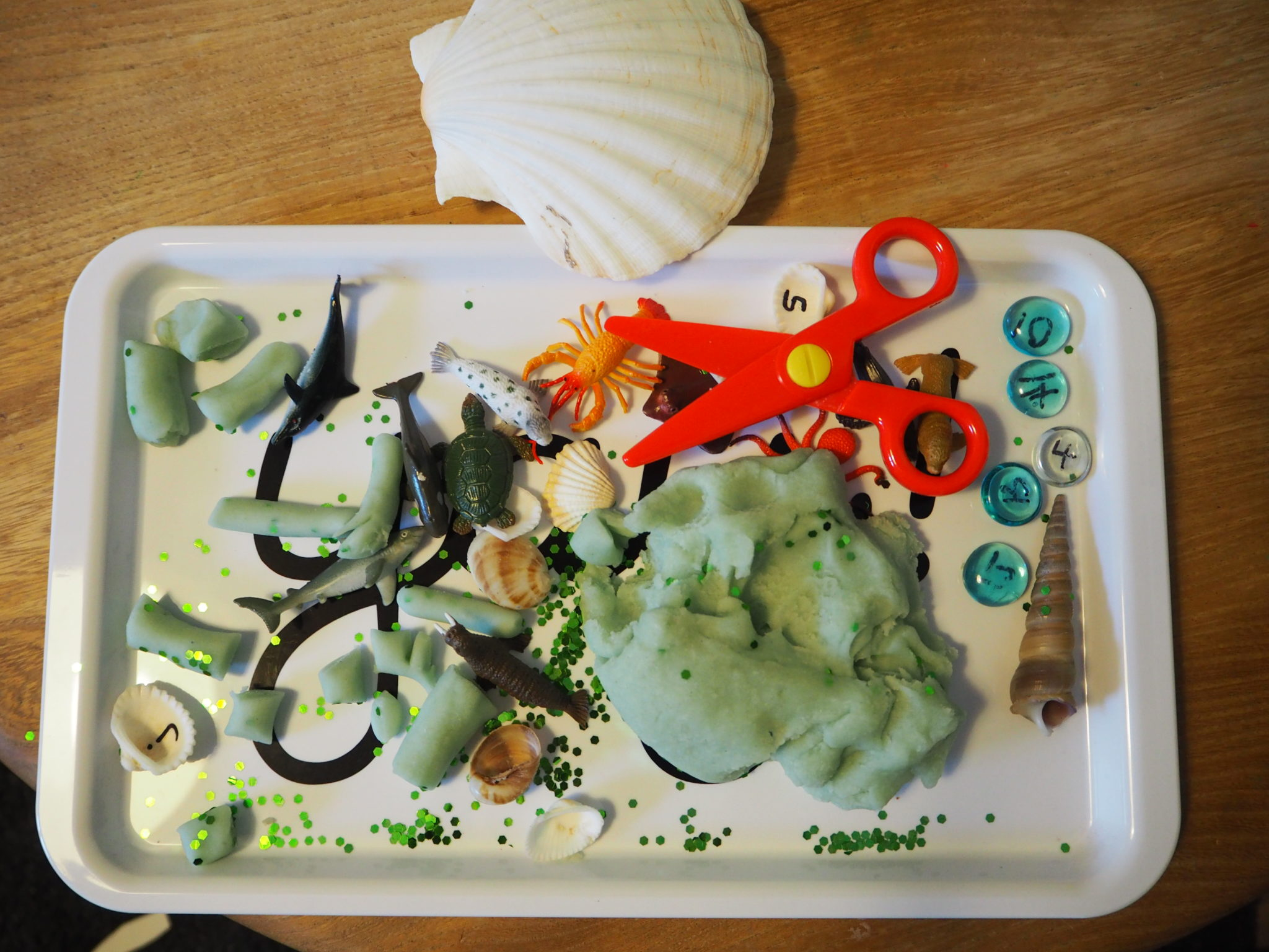 scissors playdough shell