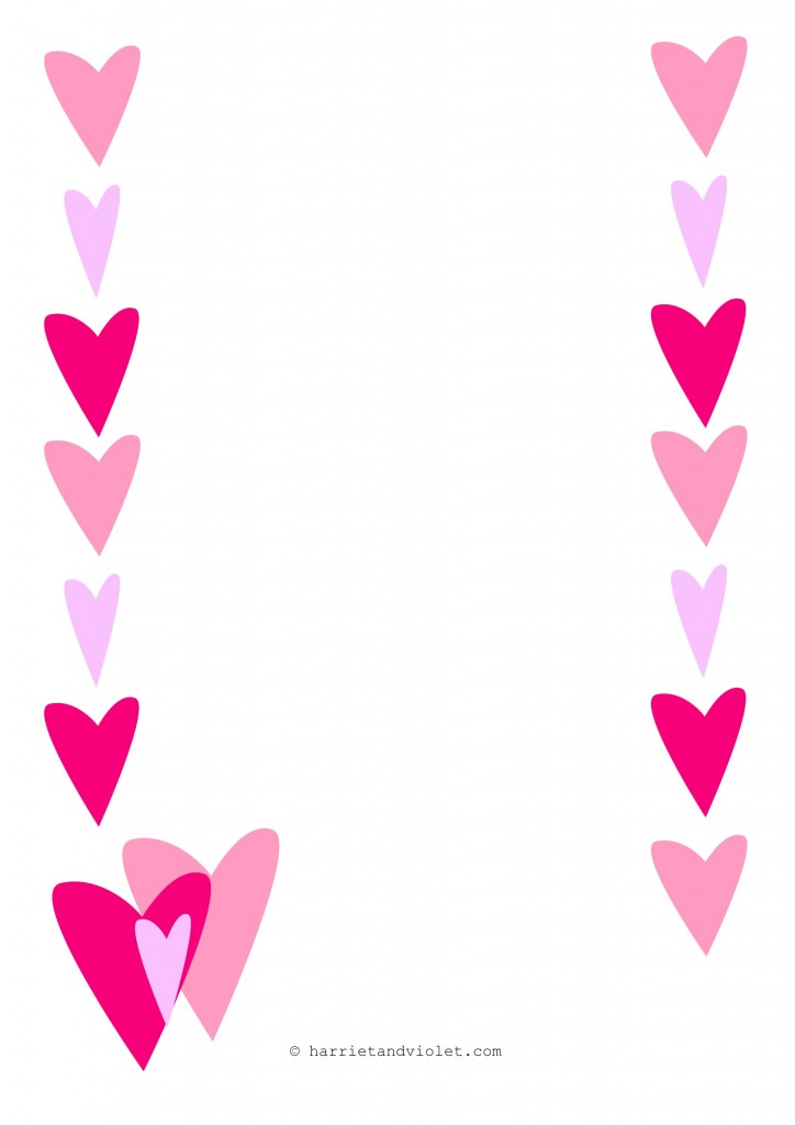 Heart Page Border A4 Portrait Paper Lined Plain Or Half Lined