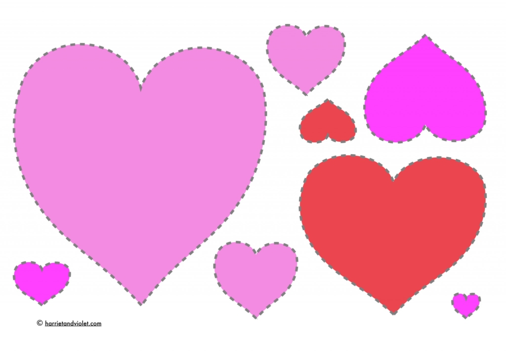 Valentine Hearts To Cut Out And Order In Size Pink