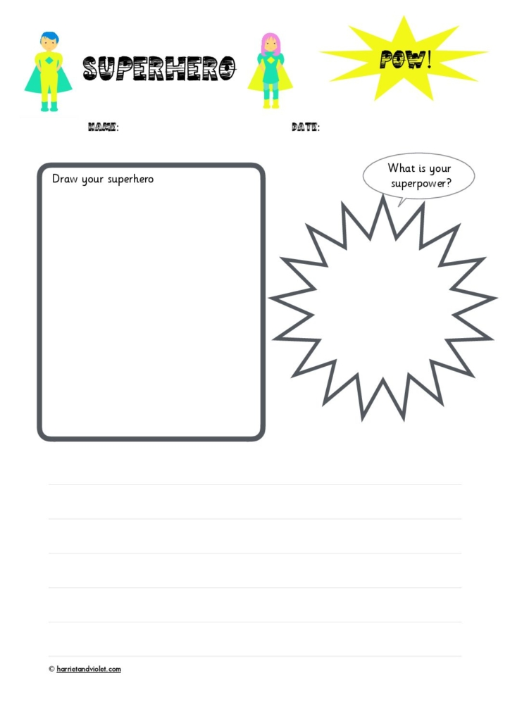 superhero character planning writing template free teaching