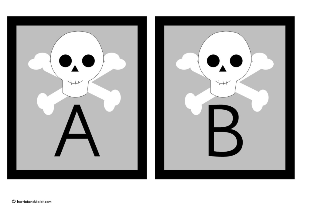 Skull & Crossbones - Alphabet Flashcards capital letters