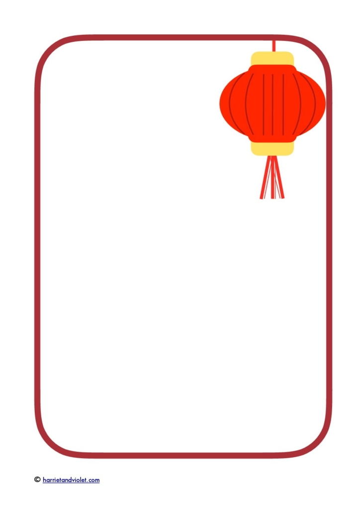 chinese new year border paper red lantern