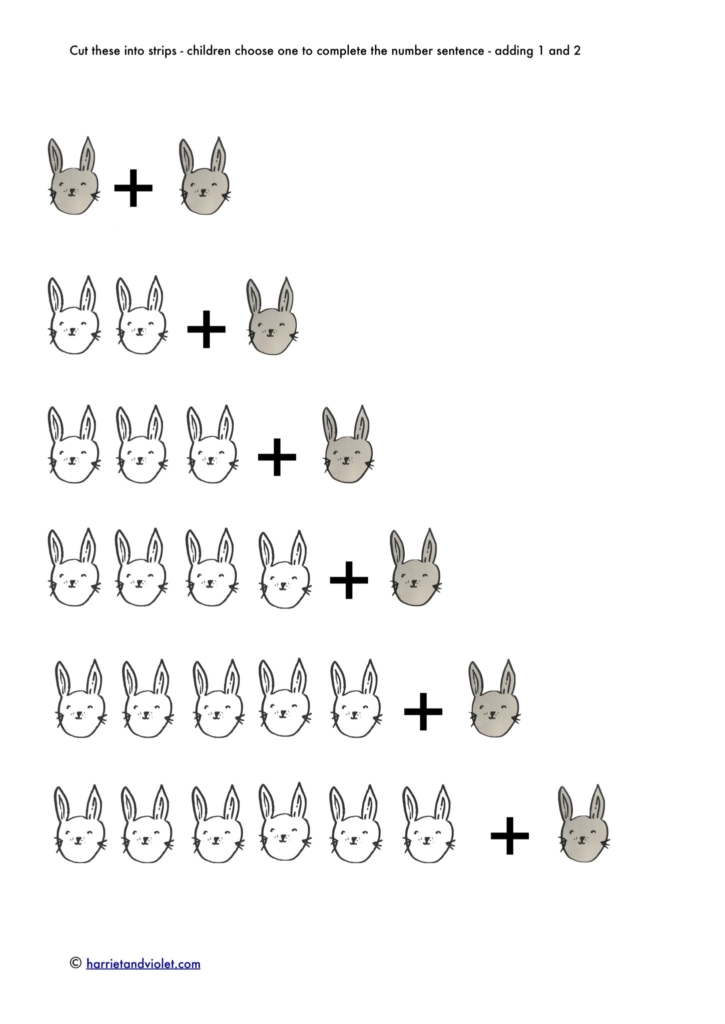 small rabbits addition number sentences