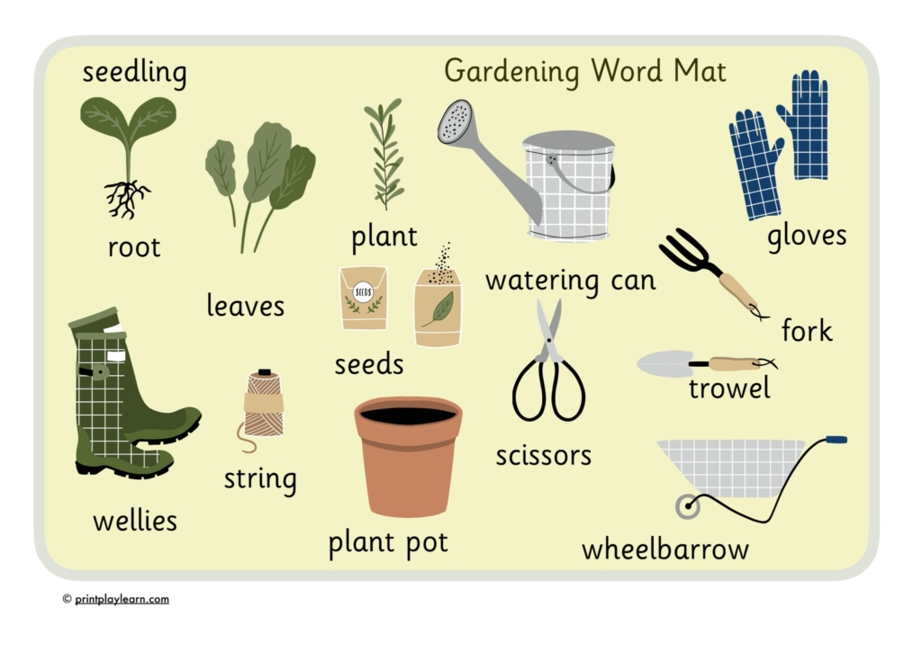 garden word mat for children with key words