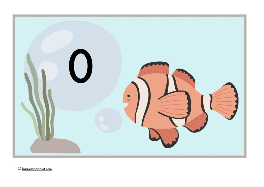 clown fish underwater number display