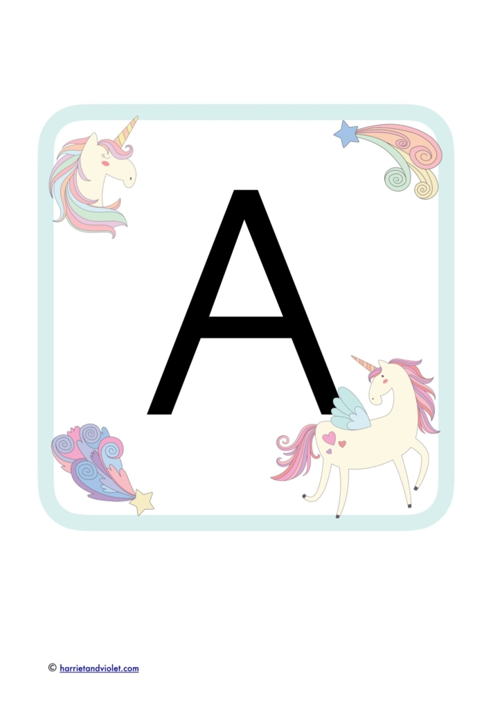 alphabet a with unicorn border