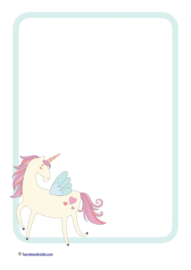 blue paper edge with pink unicorn