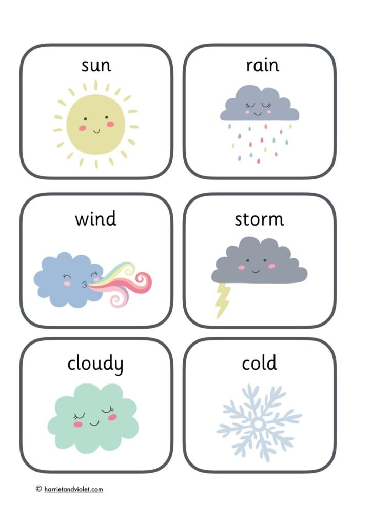 weather flashcards sun cloud rain smiling face