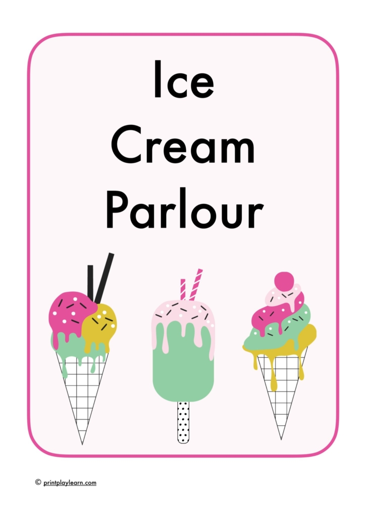 eyfs ice cream role play pack