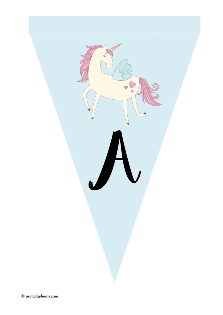 instant display lettering bunting unicorn