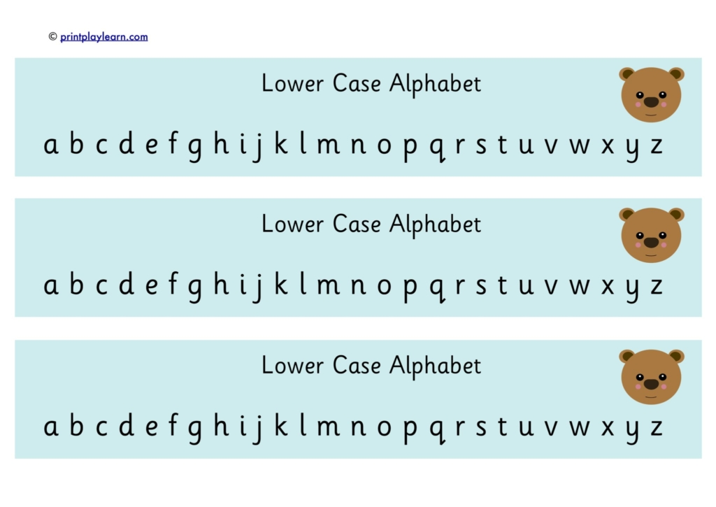 alphabet chart lower case bear