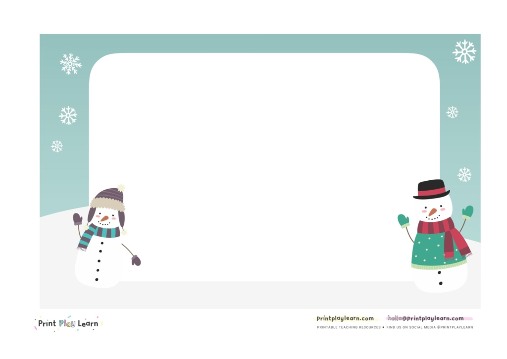 winter writing paper for early years mark making