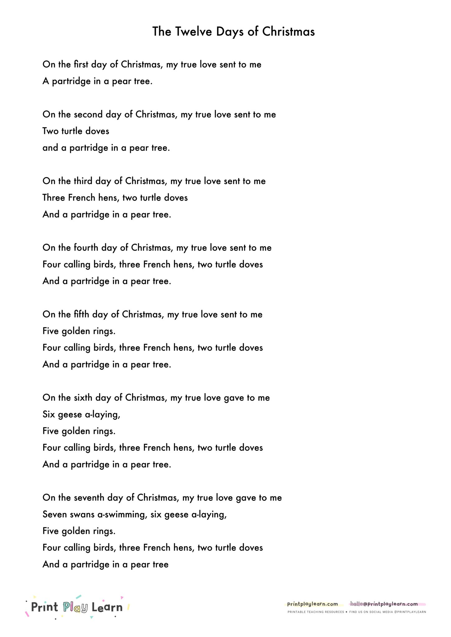 12 Days Of Christmas Song.Twelve Days Of Christmas Song Words Printable Teaching
