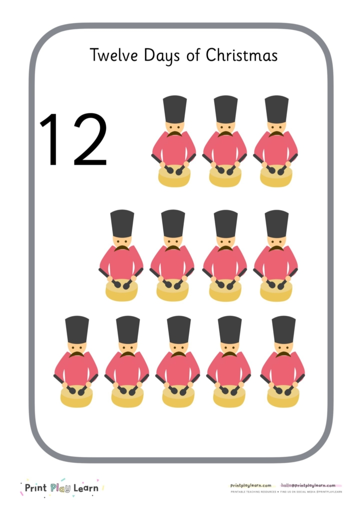 twelve days of Christmas numbers 1-12