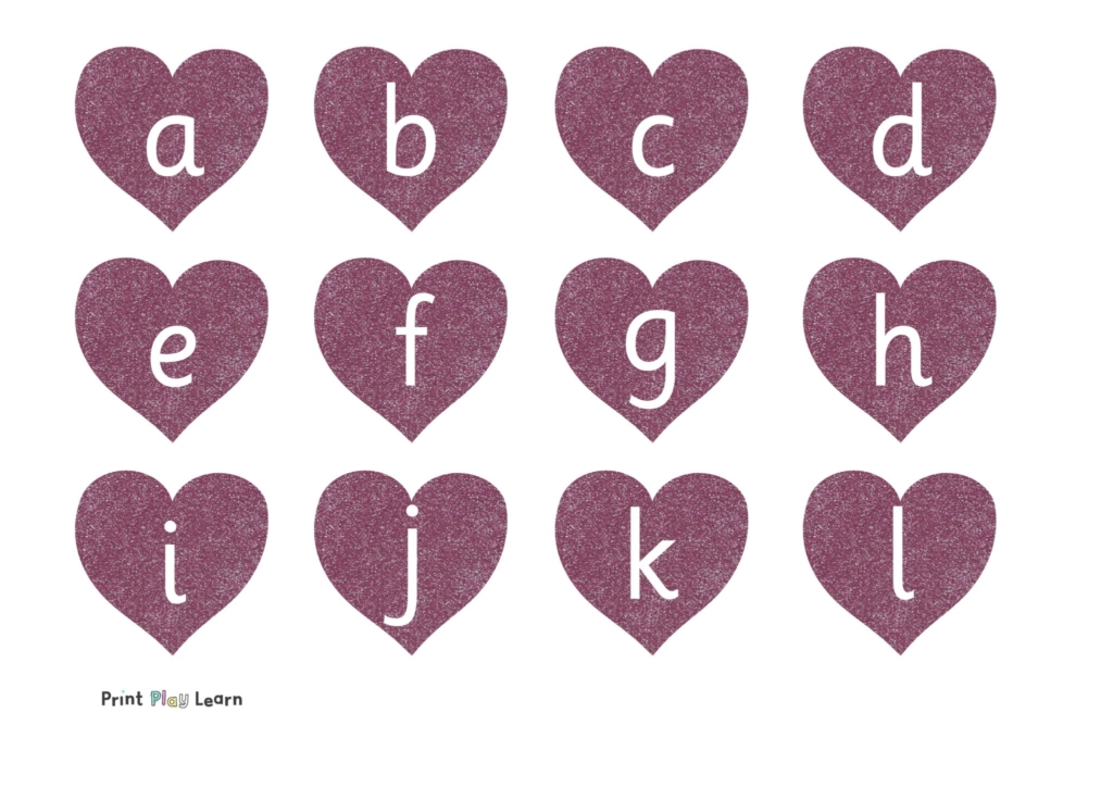 lower case lettering glitter hearts