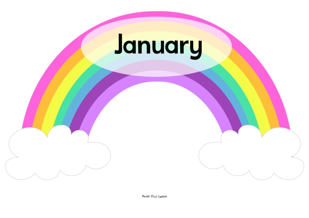 rainbows with months of the year on