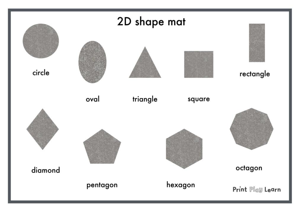 2d shapes glitter shape mat