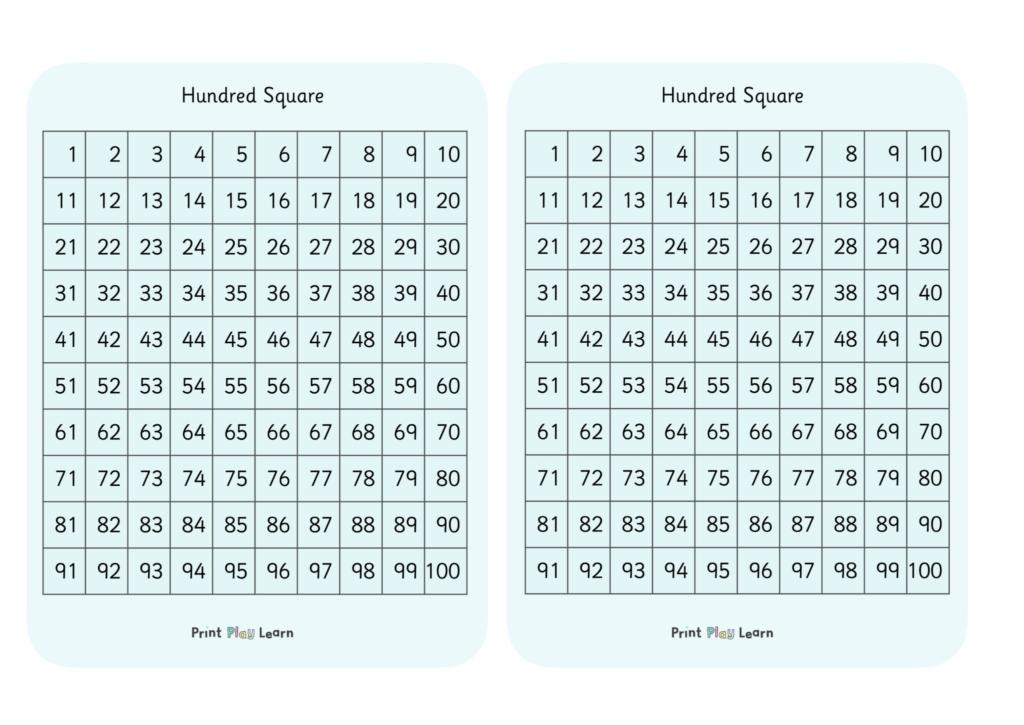 hundred square maths