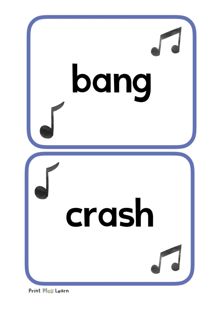 music words as flashcards for the classroom, bang, crash