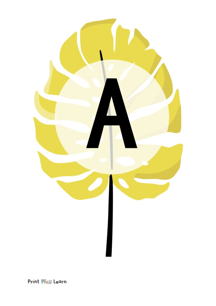mustard coloured leaf with lettering in the middle a to z