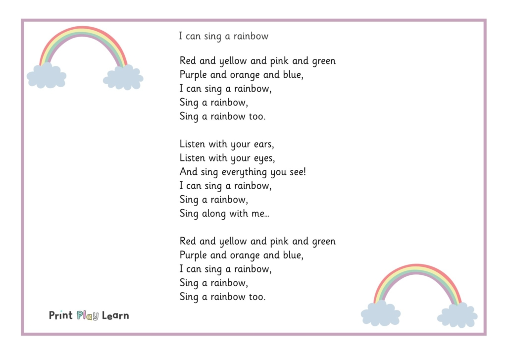 I can sing a rainbow song words with image of rainbows for a primary and eyfs poster