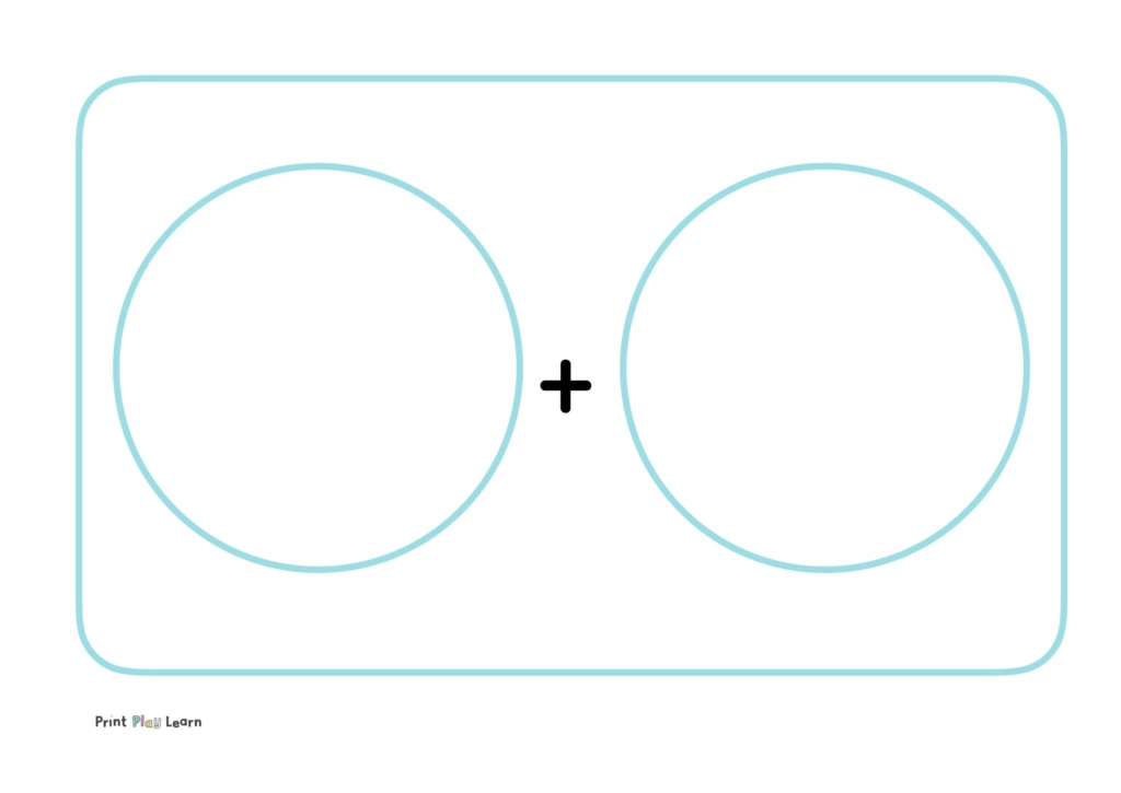addition mat two circles and addition sign for objects to be placed and added total EYFS KS1 maths