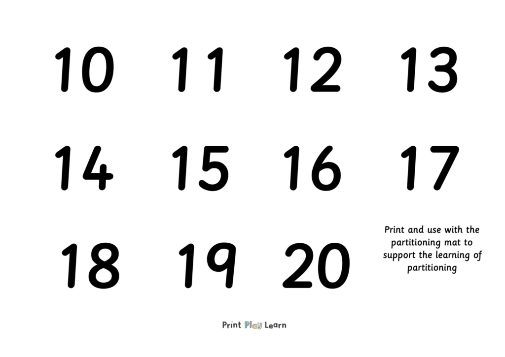 partitioning mat digit cards black numbers 10-20 for key stage one