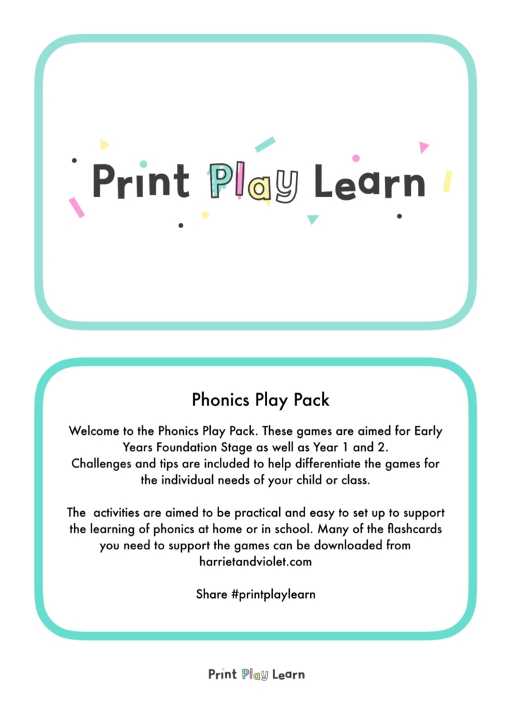 phonics play pack print play learn activities for EYFS early years primary school play packs phonics