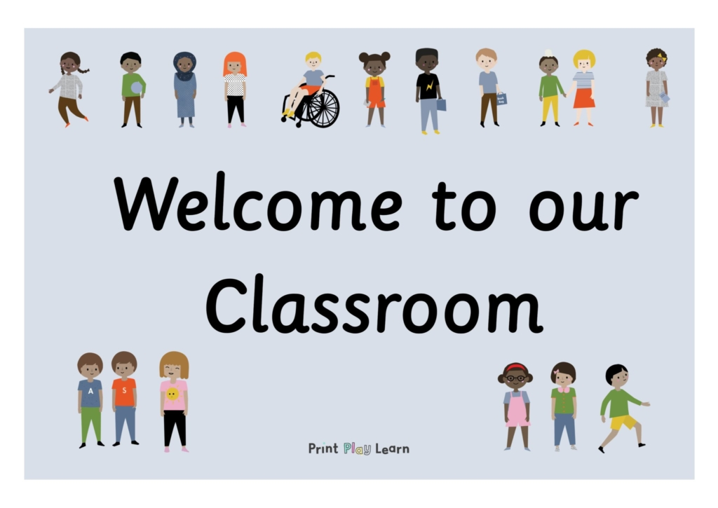 blue background welcome to out classroom with images of children around the edge