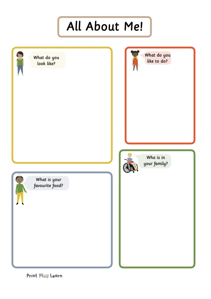 all about me writing frame print play learn