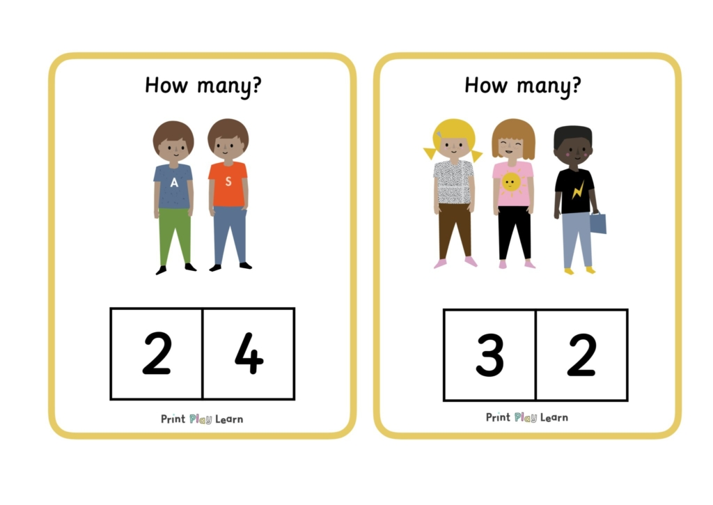 yellow border child illustrations numbers to choose from print play learn