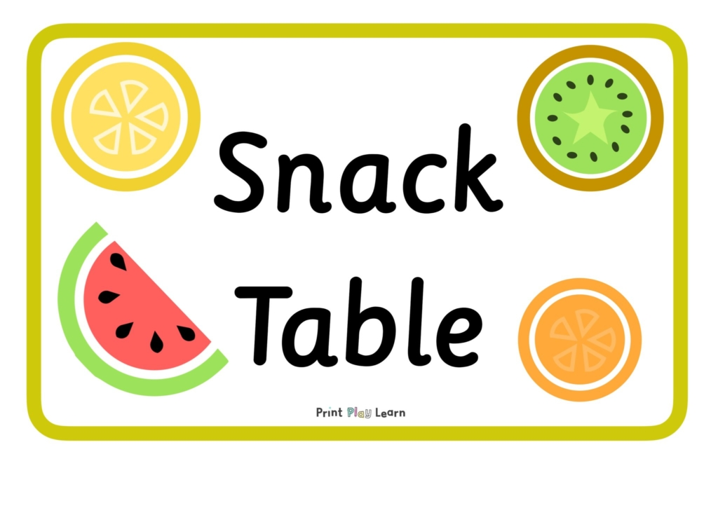 lemon kiwi melon orange images with the word snack table with green border print play learn