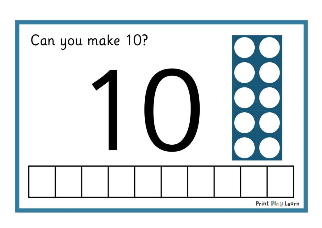 blue border large number 10 can you make 10 in words and numicon