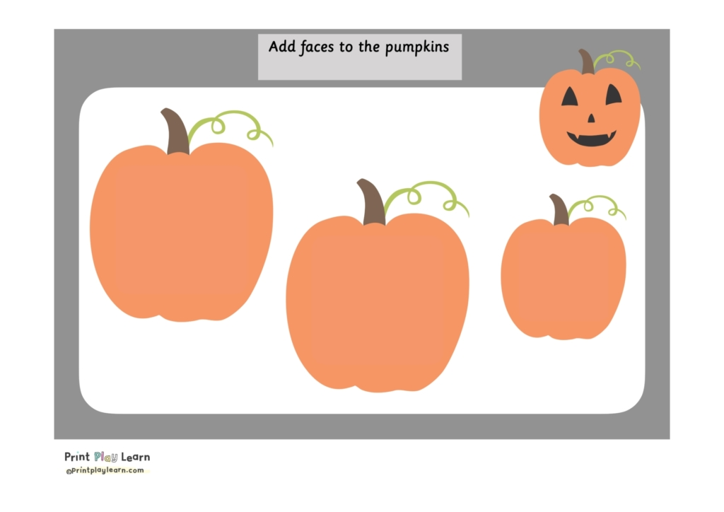 pumpkin playdough mat for halloween grey border 3 large pumpkins and one small one with a face print play learn
