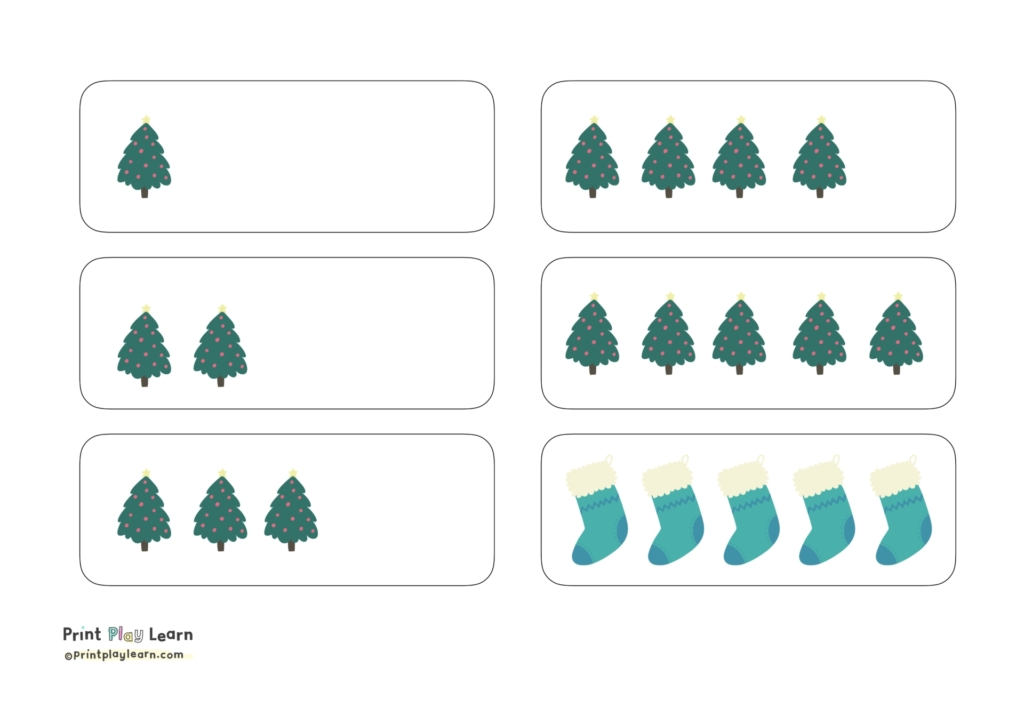 how many counting Christmas objects 1-5 print play learn