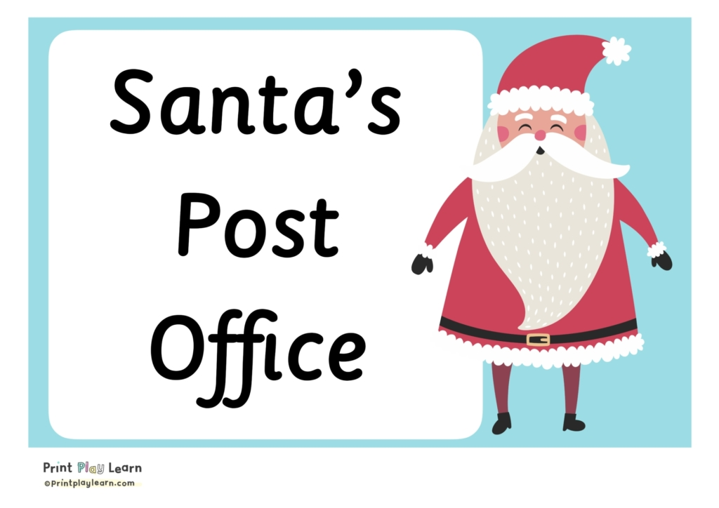 blue background black writing santas post office with santa on the right side