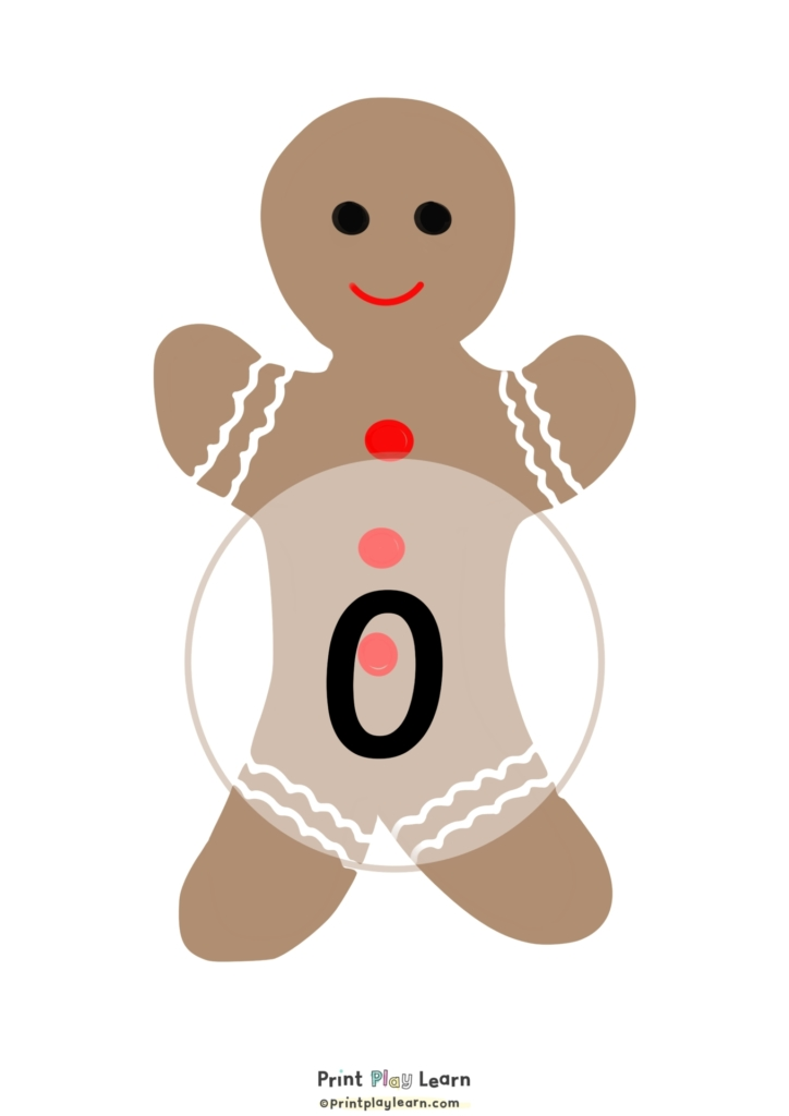 drawn gingerbread man in the middle of the page brown and white circle with a number in set of 0-10 number posters print play learn